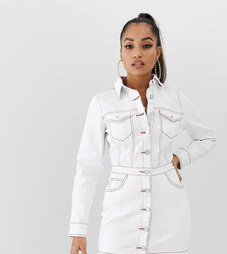 Missguided Petite denim shirt dress in white