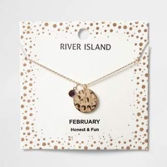 River Island Womens Purple gem February birthstone necklace