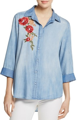AQUA Button Down Embroidered Chambray Shirt - 100% Exclusive $78 thestylecure.com