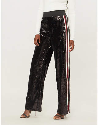 SERENA BUTE LONDON Mid-rise wide-leg sequinned jogging bottoms