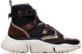 Chloé brown Sonnie chunky strap high top sneakers