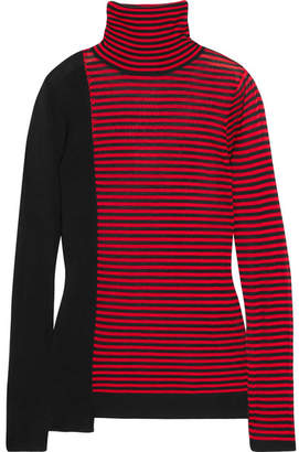 Sonia Rykiel Striped Silk And Cotton-blend Turtleneck Sweater - Red