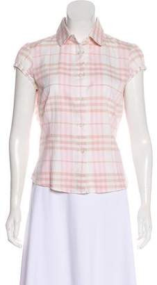 Burberry Nova Check Cap Sleeve Top