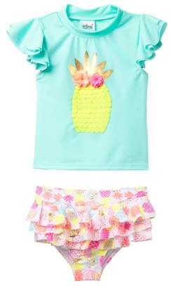Wetsuit Club Pineapple Rashguard & Ruffle Print Bottom Swimsuit Set (Baby & Toddler Girls)