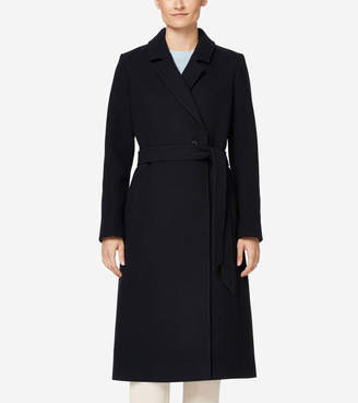 Cole Haan Double Faced Wool Wrap Coat
