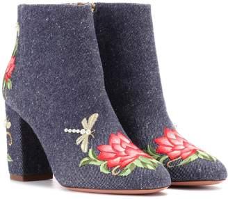 Aquazzura Lotus 85 denim ankle boots