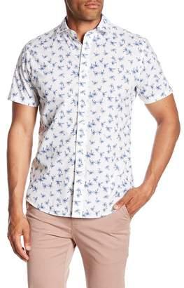 Slate & Stone Modern Fit Palm Print Button Short Sleeve Shirt
