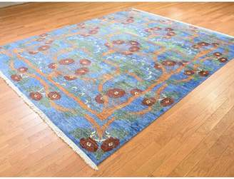 """Blue Area World Menagerie One-of-a-Kind Artemi Arts and Crafts Art Oriental Hand-Knotted 8' x 9'8"""" Silk Rug World Menagerie"""