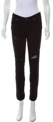 Paige Distressed Low-Rise Skinny Jeans