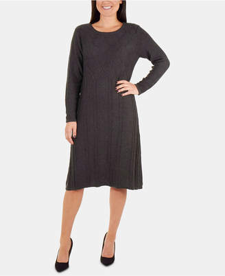 NY Collection Mixed Cable-Knit Sweater Dress