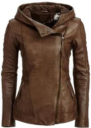 Moto YYG-Women Faux PU Leather Oblique Zip Biker Hood Jacket XL