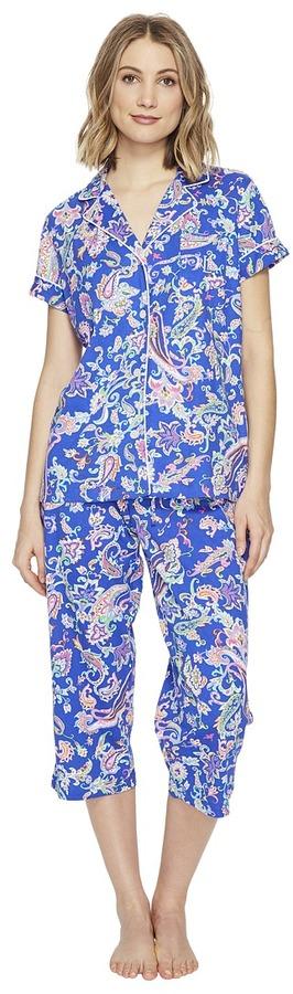 Lauren Ralph LaurenLAUREN Ralph Lauren - Short Sleeve Notch Collar Capri PJ Women's Pajama Sets