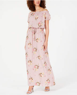 City Studios Juniors' Off-The-Shoulder Floral Maxi Dress