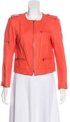Alice + Olivia Leather Zip-Up Jacket