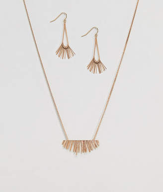NY:LON Necklace And Earring Gift Set With Fan Detail