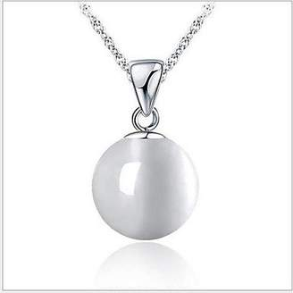 BST Pendant Necklaces BST 925 Sterling Silver Round Opals Simple Fashion Necklace With Water Wave Necklace