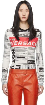 Versace White Tabloid Print Long Sleeve T-Shirt