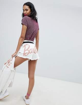 Missguided Barbie Glitter Logo Denim Shorts