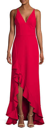 Betsy & Adam Scuba Crepe Ruffle Slit Gown