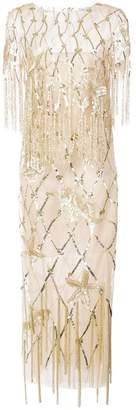Oscar de la Renta fringed sequined gown
