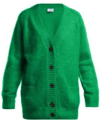 Prada V Neck Mohair Blend Cardigan - Womens - Green