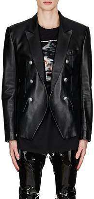 Balmain Men's Leather Double-Breasted Sportcoat - Black