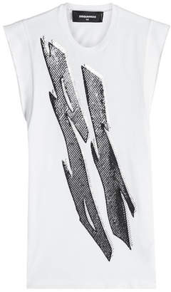 DSQUARED2 Sequin Embellished Cotton Tank