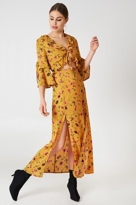 Glamorous Short Sleeve Midi Dress Mustard Floral