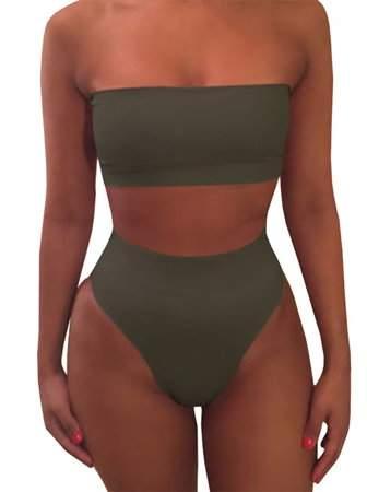 YONYWA Women Solid Two-Piece Swimwear Summer beach Swimsuits
