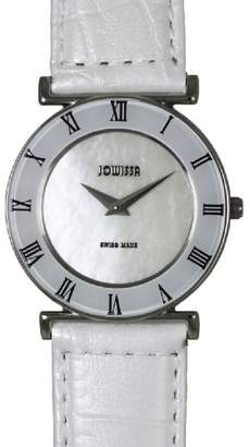 Jowissa Women's J2.058.M Roma MoL White Mother-of-Pearl Roman Numerals Patent Leather Watch