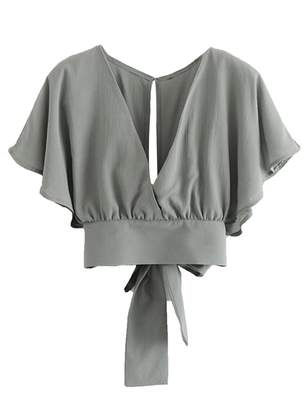 Goodnight Macaroon 'Calli' V-neck Back Tied Wrap Top (4 Colors)