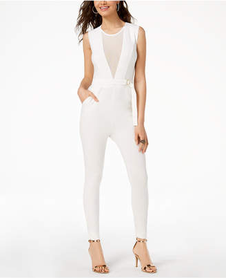 Material Girl Juniors' Illusion Belted Jumpsuit, Created for Macy's