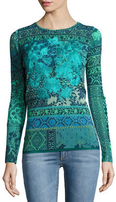 Fuzzi Long-Sleeve Mosaic-Print Stretch-Tulle Top $440 thestylecure.com