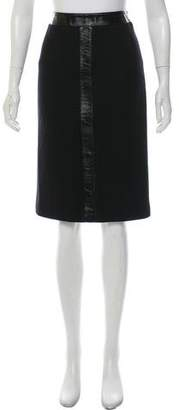 Wolford Patent Leather-Accented Virgin Wool Skirt