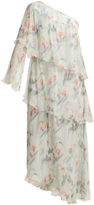 Vilshenko Christelle one-shoulder floral-print silk dress