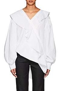 J KOO Women's Asymmetric Ruffled Cotton Poplin Blouse-White