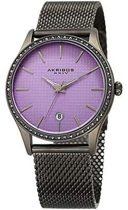 Akribos XXIV Women's AK967 Swiss Quartz Stainless Steel Casual Watch (Gun/Purple)