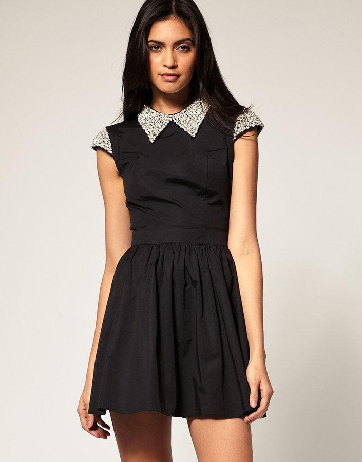 ASOS Dress with Embellished Collar Skater