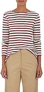 """Maison Labiche Women's Mariniere """"Femme Fatale"""" Striped Cotton T-Shirt-Blanc Bordeaux"""