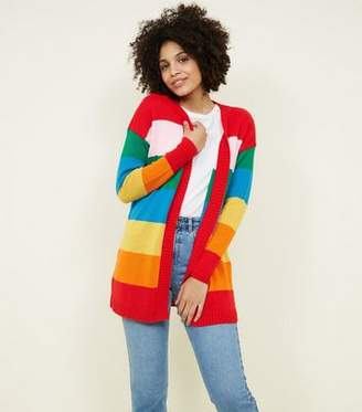 New Look Rainbow Stripe Longline Cardigan