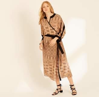 Amanda Wakeley Copper Printed Paisley Wrap Dress