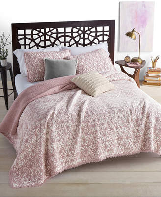 Martha Stewart Collection Closeout! Whim by Collection Beach Wash 100% Cotton Reversible Sunset Pink Twin Quilt, Created for Macy's