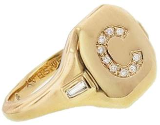 SHAY Initial Pinky Ring with Side Diamond Accents