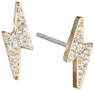 DKNY Gold-Tone Pave Lightning Bolt Stud Earrings