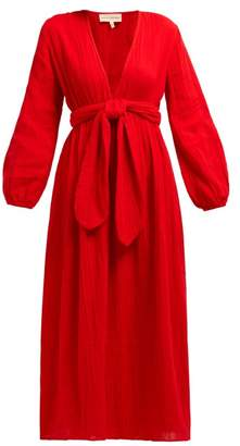 Mara Hoffman Luna V Neck Organic Cotton Gauze Midi Dress - Womens - Red