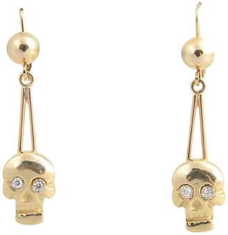 One Kings Lane Vintage Skull Diamond & Gold Earrings