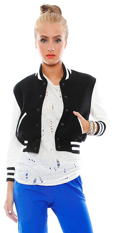 Simone Varsity Bomber Jacket in Black/White