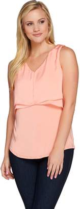 Halston H By H by Sleeveless Knit Top with Cascade Overlay Detail