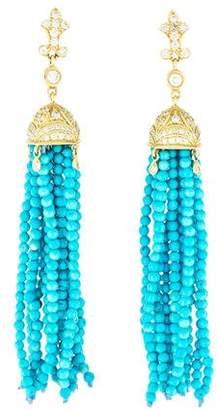 Penny Preville 18K Turquoise & Diamond Tassel Earrings