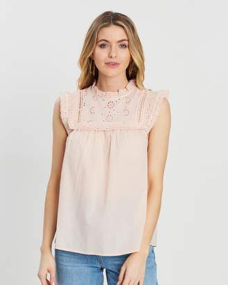 Dorothy Perkins Frill Broderie Cotton Top